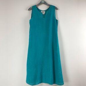 Flax Teal Blue Linen Tank Maxi Dress Sz. S